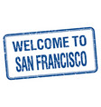 welcome to san francisco blue grunge square stamp vector image vector image