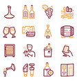 Wine making color linear icons set