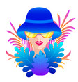 woman in blue hat vector image