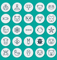 zoo icons set collection of serpent beetle vector image vector image