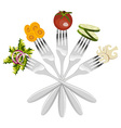 Isolated forks with vegetables vector image