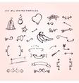 Doodle elements of ornate arrow heart flower vector image
