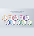 10 steps infographic with different color vector image vector image
