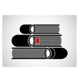 a stack of stacked books logo or emblem black vector image vector image