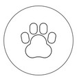 animal footprint icon black color in circle vector image vector image