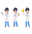 beautiful cartoon character medic set with vector image
