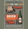 beer festival and sausages retro poster vector image vector image
