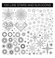 big bundle stars and sun icons vector image
