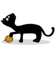 Black cat cartoon vector image vector image