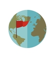 blue sphere world with red Flag vector image vector image