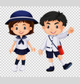 boy and girl in school uniform vector image vector image