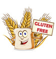 bread cartoon with gluten free signboard vector image vector image