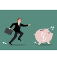 Businessman try to catch piggy bank vector image