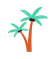 cartoon palm tree drawing with black coconuts vector image vector image