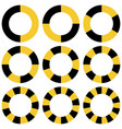 circle yellow and black sectors safety vector image vector image