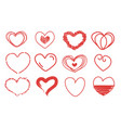 collection 12 hearts hand drawn icons set vector image vector image