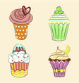 collection of hand drawn cupcakes vector image vector image