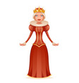 cute queen cheerful ruler crown on head cartoon vector image vector image