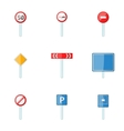 Different road signs icons set cartoon style vector image vector image