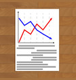 document with arrow chart vector image vector image