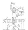 doodle business man get idea to start up vector image