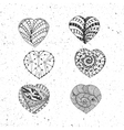 Doodle Valentines Day Hearts Set vector image