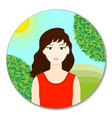 girl icon in color flat style woman avatar vector image vector image