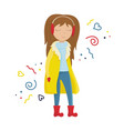 girl in a yellow winter coat vector image