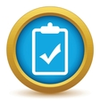 Gold list yes icon vector image vector image