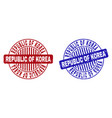 grunge republic of korea scratched round vector image vector image