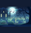 halloween background with scary castle pumpkins vector image vector image