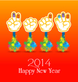 Happy new year 2014 colorful painting of hands vector image