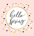 hello spring polka dot on pastel pink background vector image vector image