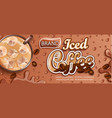 iced coffee banner with ice and apteitic drops vector image vector image