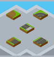 isometric road set of pedestrian rotation down vector image vector image