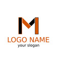 letter m simple logo of black and orange color vector image vector image