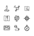 Location and navigation line icons vector image vector image