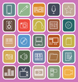 media line flat icons on pink background vector image