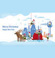 merry christmas and happy new year elves helpers vector image