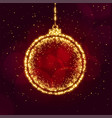 merry christmas ball made with sparkles background vector image