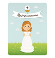 my first communion reminder with curly hair girl vector image vector image