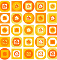 Orange pattern of geometric shapes and flowers vector image vector image