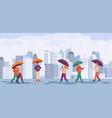 people autumn rain men and women walk or standing vector image vector image