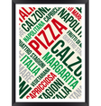pizza words cloud poster vector image