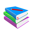 red pencil and books on a white background vector image vector image