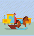 rocking horse train wagon sailboat toys vector image