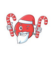 santa bowling ball character cartoon with candy vector image vector image
