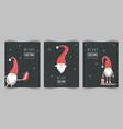 season greetings christmas scandinavian cards vector image vector image