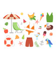 set essential cute colorful summer items vector image
