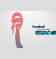 silhouette of a football helmet and hand from vector image vector image
